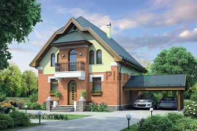 Проект дома с мансардой 14x11 метров, общей площадью 141 м2, из газобетона (пеноблоков), c террасой и котельной