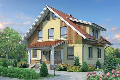 Проект дома с мансардой 14x11 метров, общей площадью 178 м2, из кирпича, c террасой, котельной и кухней-столовой