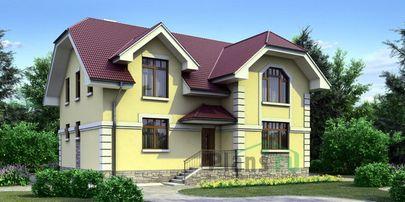 Проект дома с мансардой 14x11 метров, общей площадью 186 м2, из кирпича, c котельной