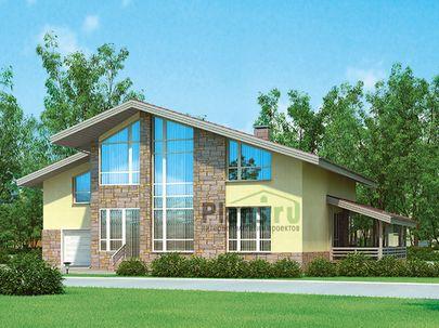 Проект дома с мансардой 14x11 метров, общей площадью 260 м2, из керамических блоков, c террасой, котельной и кухней-столовой