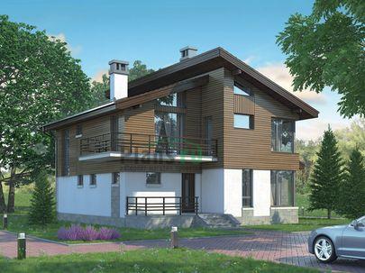 Проект дома с мансардой 14x12 метров, общей площадью 160 м2, из газобетона (пеноблоков), c террасой и котельной