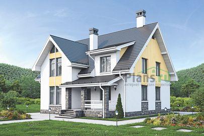 Проект дома с мансардой 14x12 метров, общей площадью 174 м2, из газобетона (пеноблоков), c террасой, котельной и кухней-столовой