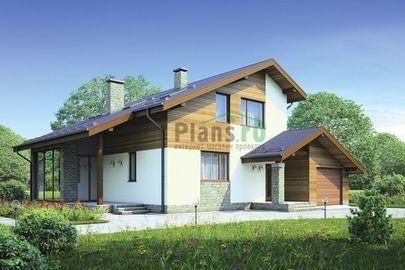 Проект дома с мансардой 14x12 метров, общей площадью 175 м2, из газобетона (пеноблоков), c гаражом, террасой, котельной и кухней-столовой
