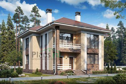 Проект дома с мансардой 14x12 метров, общей площадью 186 м2, из кирпича, со вторым светом, c террасой, котельной и кухней-столовой