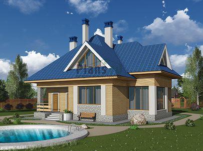 Проект дома с мансардой 14x12 метров, общей площадью 191 м2, из газобетона (пеноблоков), со вторым светом, c террасой, котельной и кухней-столовой
