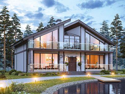 Проект дома с мансардой 14x12 метров, общей площадью 193 м2, из газобетона (пеноблоков), c террасой, котельной и кухней-столовой
