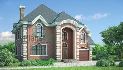Проект дома с мансардой 14x12 метров, общей площадью 194 м2, из кирпича, c гаражом и котельной