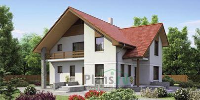 Проект дома с мансардой 14x12 метров, общей площадью 206 м2, из газобетона (пеноблоков), c террасой, котельной и кухней-столовой