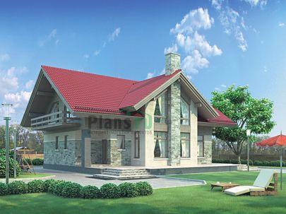 Проект дома с мансардой 14x12 метров, общей площадью 211 м2, из керамических блоков, со вторым светом, c террасой, котельной и кухней-столовой