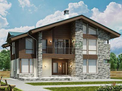 Проект дома с мансардой 14x12 метров, общей площадью 231 м2, из газобетона (пеноблоков), c террасой, котельной и кухней-столовой