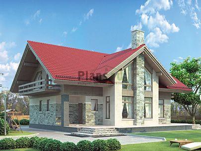Проект дома с мансардой 14x12 метров, общей площадью 234 м2, из газобетона (пеноблоков), со вторым светом, c террасой, котельной и кухней-столовой