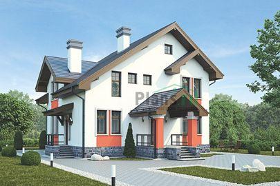 Проект дома с мансардой 14x13 метров, общей площадью 159 м2, из кирпича, c террасой, котельной и кухней-столовой