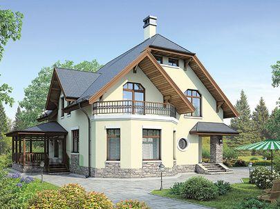 Проект дома с мансардой 14x13 метров, общей площадью 172 м2, из керамических блоков, c террасой, котельной и кухней-столовой