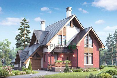 Проект дома с мансардой 14x13 метров, общей площадью 180 м2, из кирпича, c гаражом, котельной и кухней-столовой