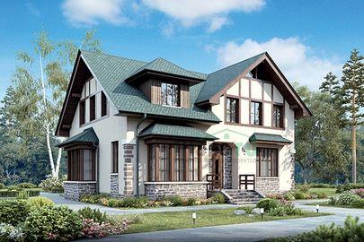 Проект дома с мансардой 14x13 метров, общей площадью 184 м2, из кирпича, c террасой, котельной и кухней-столовой