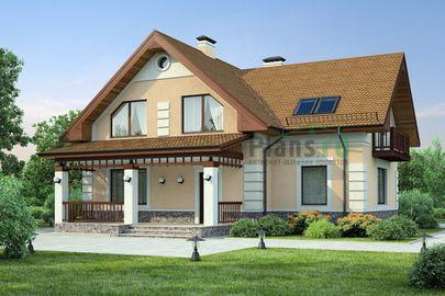 Проект дома с мансардой 14x13 метров, общей площадью 191 м2, из газобетона (пеноблоков), c кухней-столовой