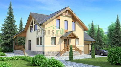 Проект дома с мансардой 14x13 метров, общей площадью 195 м2, из газобетона (пеноблоков), c гаражом, террасой и котельной