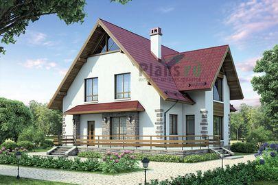 Проект дома с мансардой 14x13 метров, общей площадью 195 м2, из кирпича, c террасой, котельной и кухней-столовой
