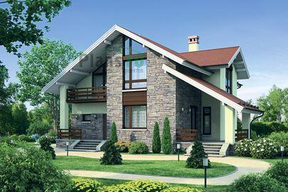 Проект дома с мансардой 14x13 метров, общей площадью 199 м2, из газобетона (пеноблоков), c террасой, котельной и кухней-столовой