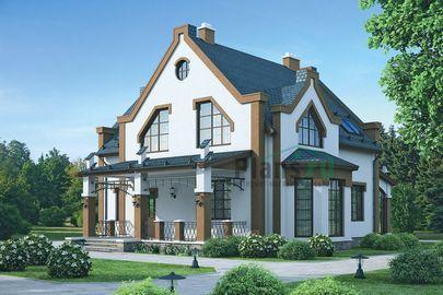 Проект дома с мансардой 14x13 метров, общей площадью 205 м2, из газобетона (пеноблоков), c террасой, котельной и кухней-столовой