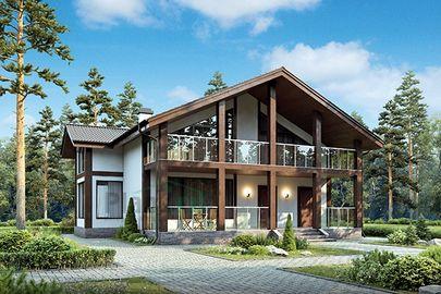 Проект дома с мансардой 14x13 метров, общей площадью 211 м2, из газобетона (пеноблоков), c террасой и котельной