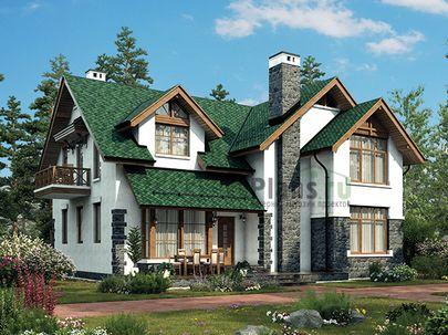 Проект дома с мансардой 14x13 метров, общей площадью 211 м2, из газобетона (пеноблоков), c террасой, котельной и кухней-столовой