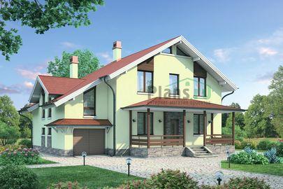 Проект дома с мансардой 14x13 метров, общей площадью 218 м2, из газобетона (пеноблоков), c гаражом, террасой, котельной и кухней-столовой