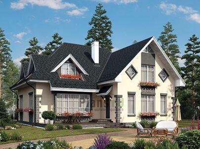 Проект дома с мансардой 14x13 метров, общей площадью 222 м2, из газобетона (пеноблоков), c террасой, котельной и кухней-столовой