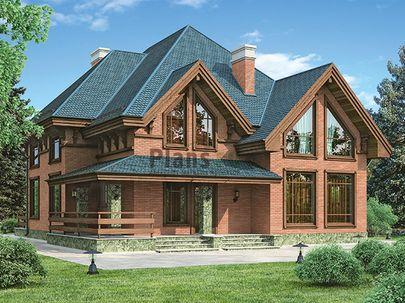 Проект дома с мансардой 14x13 метров, общей площадью 230 м2, из керамических блоков, c террасой и котельной