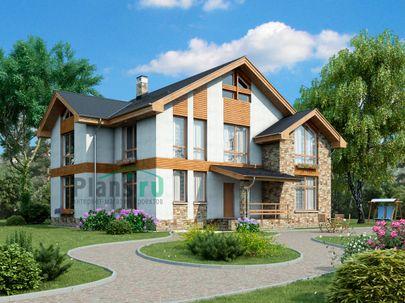Проект дома с мансардой 14x13 метров, общей площадью 234 м2, из газобетона (пеноблоков), c террасой, котельной и кухней-столовой