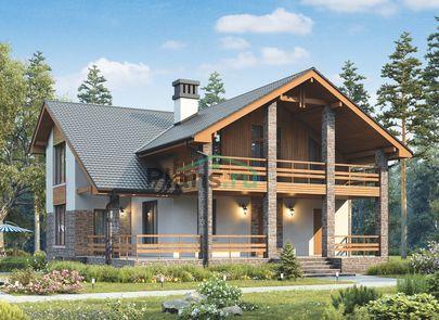 Проект дома с мансардой 14x14 метров, общей площадью 150 м2, из кирпича, c террасой, котельной и кухней-столовой