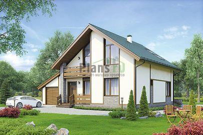 Проект дома с мансардой 14x14 метров, общей площадью 188 м2, из газобетона (пеноблоков), со вторым светом, c гаражом, террасой, котельной и кухней-столовой