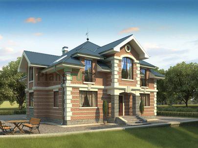 Проект дома с мансардой 14x14 метров, общей площадью 235 м2, из газобетона (пеноблоков), c котельной и кухней-столовой