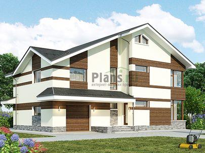 Проект дома с мансардой 14x14 метров, общей площадью 243 м2, из газобетона (пеноблоков), c гаражом, котельной и кухней-столовой