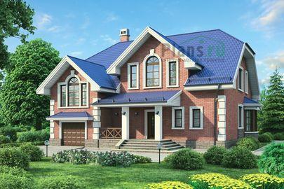 Проект дома с мансардой 14x14 метров, общей площадью 254 м2, из керамических блоков, c гаражом и котельной