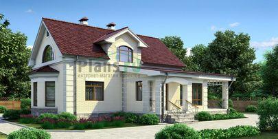 Проект дома с мансардой 14x15 метров, общей площадью 171 м2, из керамических блоков, c гаражом, террасой, котельной и кухней-столовой