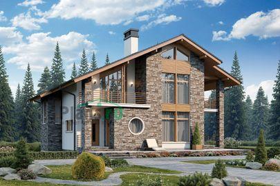 Проект дома с мансардой 14x15 метров, общей площадью 186 м2, из газобетона (пеноблоков), c террасой и котельной