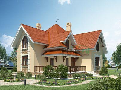 Проект дома с мансардой 14x15 метров, общей площадью 211 м2, из керамических блоков, c котельной и кухней-столовой