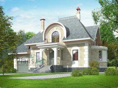 Проект дома с мансардой 14x15 метров, общей площадью 255 м2, из газобетона (пеноблоков), c гаражом и кухней-столовой