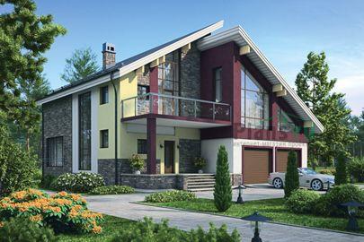 Проект дома с мансардой 14x15 метров, общей площадью 280 м2, из керамических блоков, c гаражом, террасой, котельной и кухней-столовой