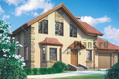 Проект дома с мансардой 14x8 метров, общей площадью 123 м2, из газобетона (пеноблоков), c гаражом, котельной и кухней-столовой