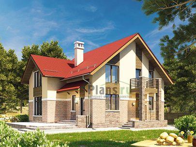 Проект дома с мансардой 14x9 метров, общей площадью 153 м2, из газобетона (пеноблоков), c террасой, котельной и кухней-столовой