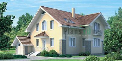Проект дома с мансардой 14x9 метров, общей площадью 163 м2, из газобетона (пеноблоков), c гаражом и котельной