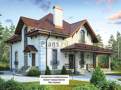 Проект дома с мансардой 14x9 метров, общей площадью 169 м2, из газобетона (пеноблоков), c гаражом, террасой, котельной и кухней-столовой