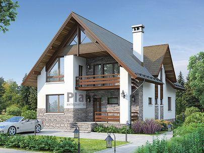 Проект дома с мансардой 14x9 метров, общей площадью 171 м2, из кирпича, c террасой, котельной и кухней-столовой