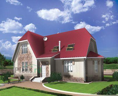 Проект дома с мансардой 14x9 метров, общей площадью 179 м2, из газобетона (пеноблоков), c котельной