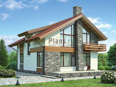 Проект дома с мансардой 15x10 метров, общей площадью 169 м2, из газобетона (пеноблоков), со вторым светом, c террасой, котельной и кухней-столовой