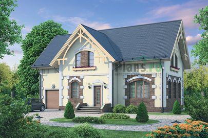 Проект дома с мансардой 15x10 метров, общей площадью 197 м2, из кирпича, c гаражом, котельной и кухней-столовой