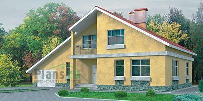 Проект дома с мансардой 15x10 метров, общей площадью 202 м2, из газобетона (пеноблоков), со вторым светом, c гаражом, котельной и кухней-столовой