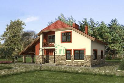 Проект дома с мансардой 15x10 метров, общей площадью 206 м2, из газобетона (пеноблоков), со вторым светом, c террасой, котельной и кухней-столовой